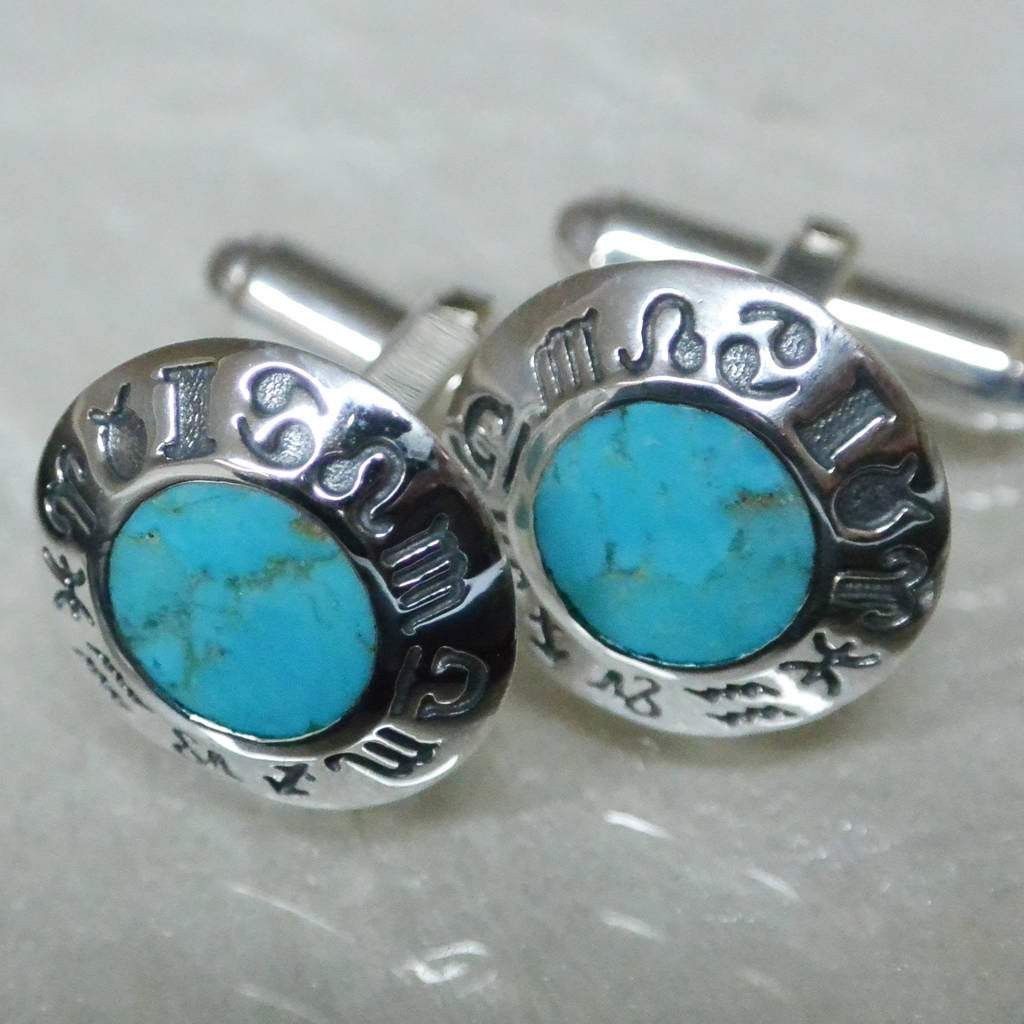 Hepburn and Hughes Turquoise Cufflinks in Sterling Silver