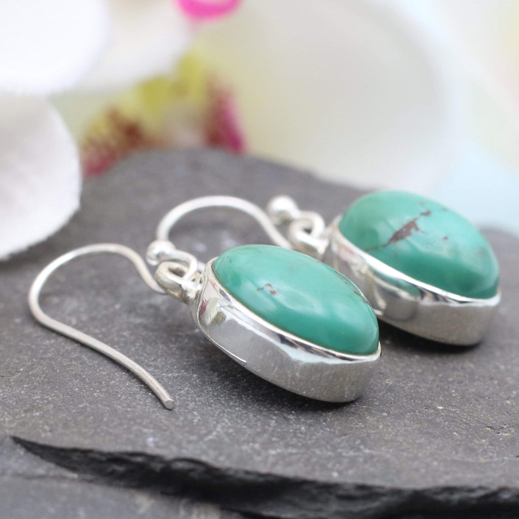 Hepburn and Hughes Turquoise | Drop Earrings | Oval | Sterling Silver