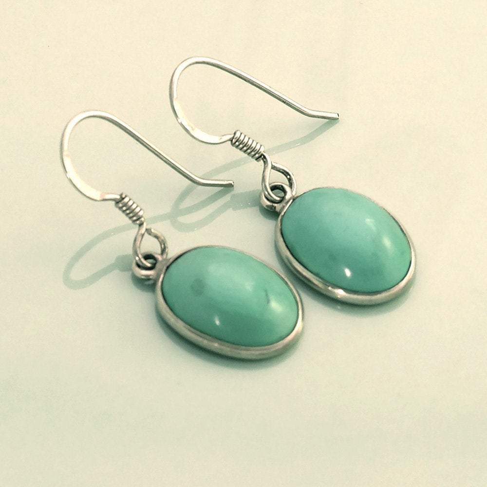 Hepburn and Hughes Turquoise Earrings, Oval in Sterling Silver