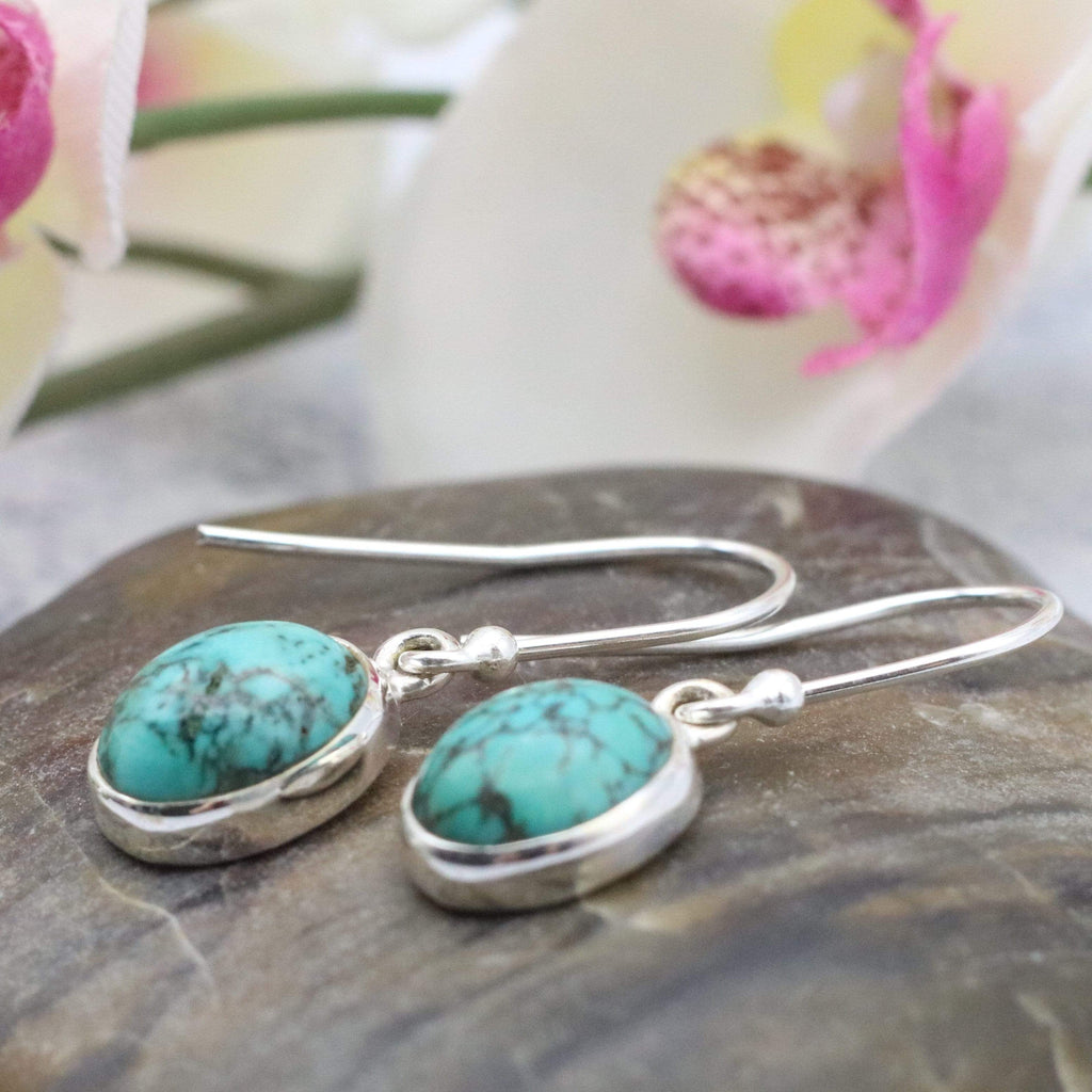 Hepburn and Hughes Turquoise Earrings | Oval | Sterling Silver