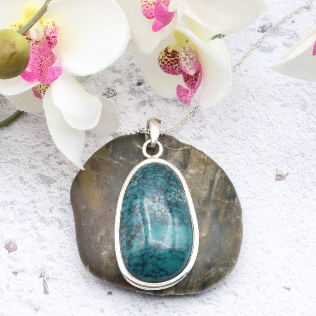Hepburn and Hughes Turquoise Pendant, Oval in Sterling Silver