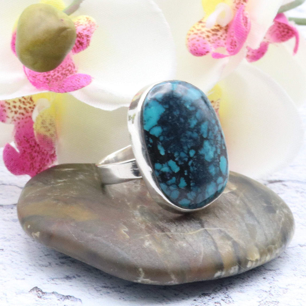 Hepburn and Hughes Turquoise Ring, Abstract Oval in Sterling Silver