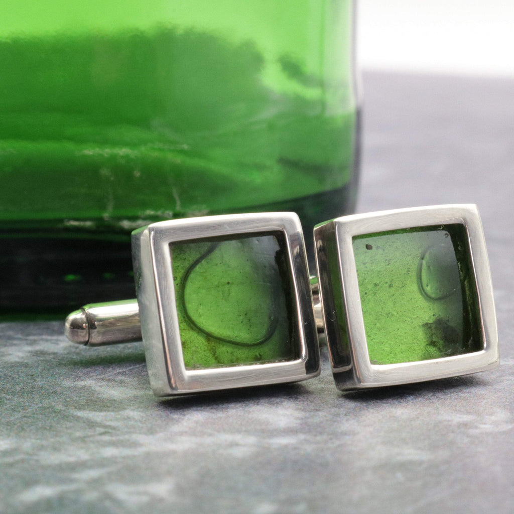 Hepburn and Hughes Up-cycled Gin Bottle Cufflinks in Sterling Silver