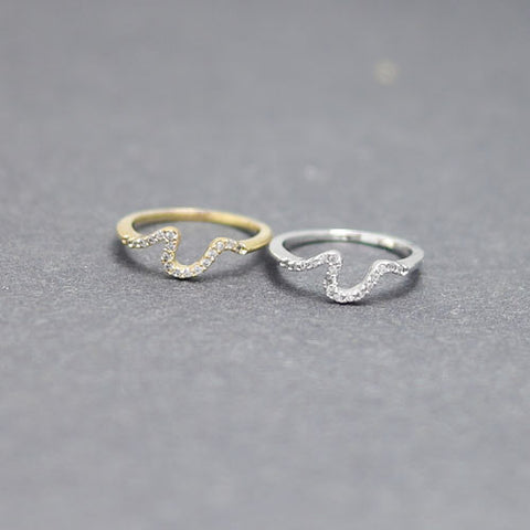Crystal Wave knuckle ring