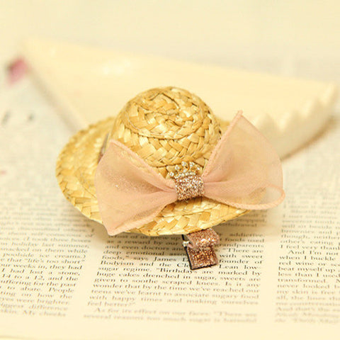 Lovely Straw Hat Hair Clip- Available in two colors