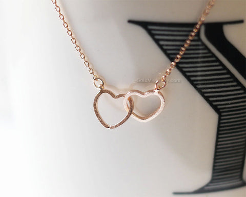 3ee056a9b9b46 Two hearts necklace, Double hearts necklace, Rose gold entwined hearts,  Rose gold filled chain, rose gold twin hearts, dainty petite simple
