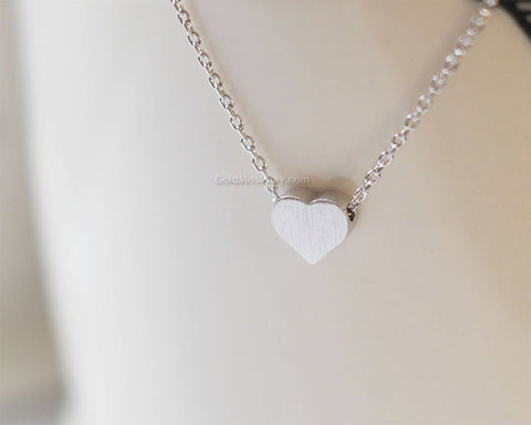 Silver tiny heart necklace simple heart necklaces silver heart on silver tiny heart necklace simple heart necklaces silver heart on daint silver chain mozeypictures Gallery