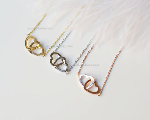 Gold two hearts necklace double hearts necklace entwined hearts gold two hearts necklace double hearts necklace entwined hearts twin hearts dainty aloadofball Image collections