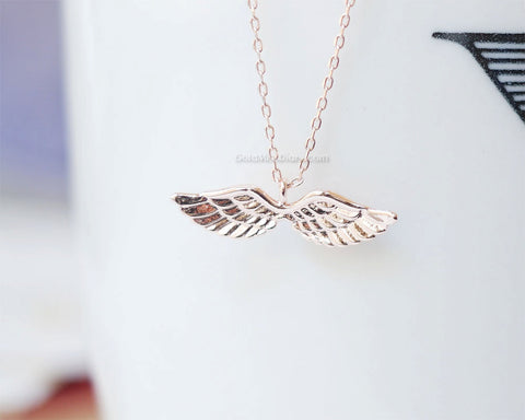 Angel wing necklace in rose gold bird necklace wing necklace cute angel wing necklace in rose gold bird necklace wing necklace cute necklace mozeypictures Gallery