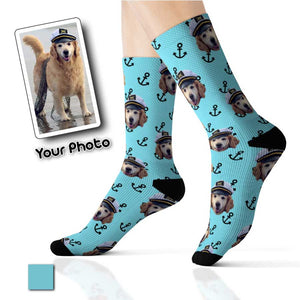 Custom Pup Dog Pet Socks Nautical Boat Anchor