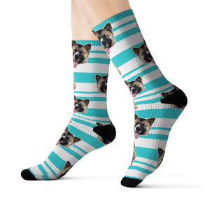 Custom blue stripes pet pup socks
