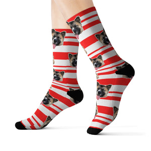 Custom red stripes pet pup socks