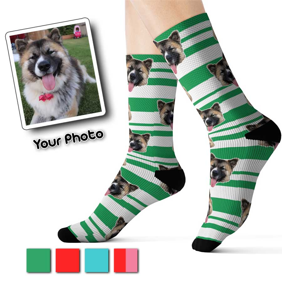Custom green stripes pet pup socks