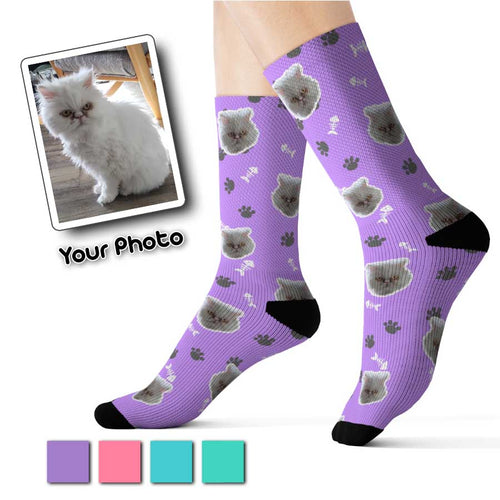 Purple Color Custom Pet Socks Kitty Theme