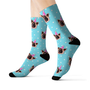 Polka Dots Theme Custom Pet Socks Blue