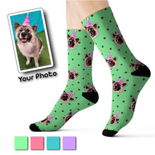 Load image into Gallery viewer, Polka Dots Theme Custom Pet Socks Mint Green