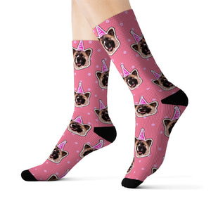 Polka Dots Theme Custom Pet Socks Pink