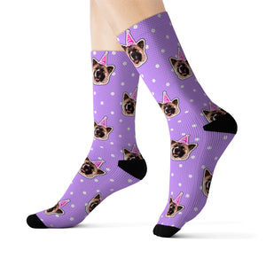 Polka Dots Theme Custom Pet Socks Purple