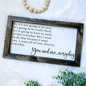 The Notebook Love Quote Wooden Sign
