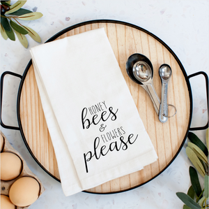 Honey Bees And Flowers Please Tea Towel