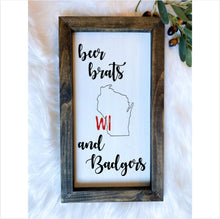 Load image into Gallery viewer, Wisconsin Badgers Wooden Sign