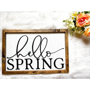 Hello Spring Wooden Sign