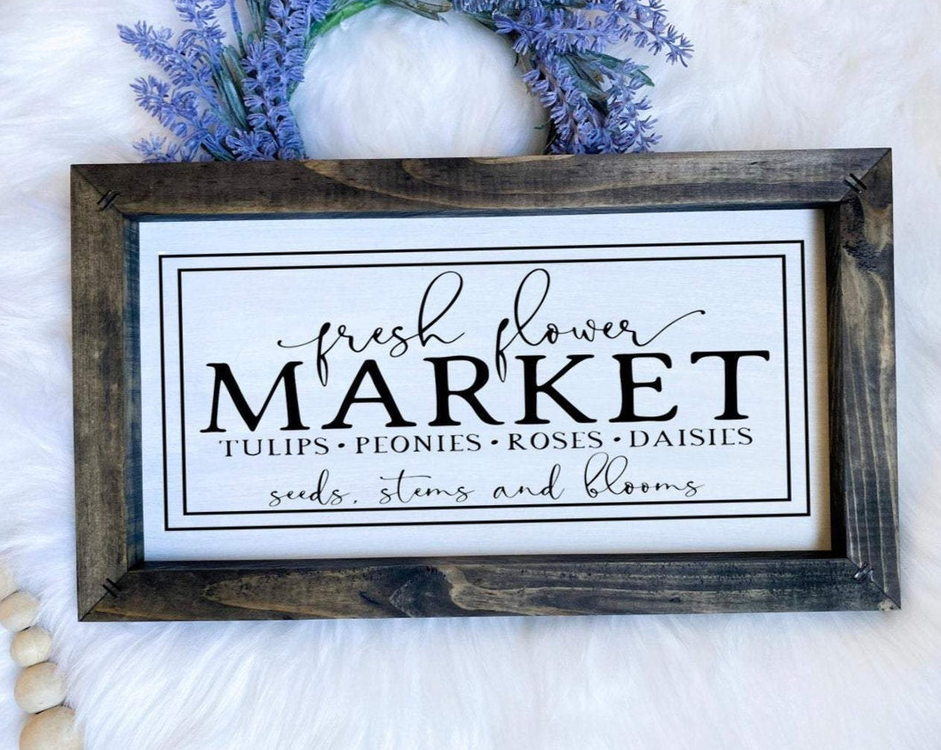 Fresh Flower Market Wooden Sign