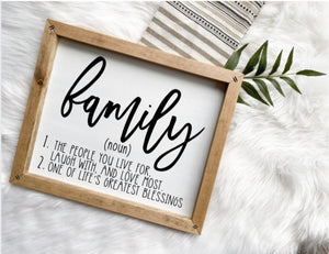 Family Definition Wooden Sign