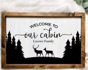 Personalized Family Name Cabin Wooden Sign