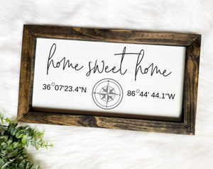 Home Sweet Home Coordinate Wooden Sign