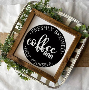 Coffee Bar Wooden Sign