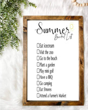 Load image into Gallery viewer, Summer Bucket List Wooden Sign