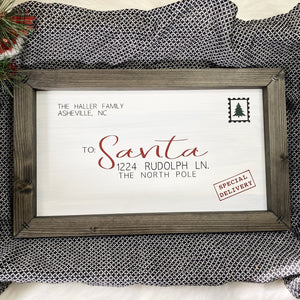 Family Letter To Santa Wooden Sign