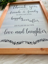 Load image into Gallery viewer, Thank You Wedding Sign