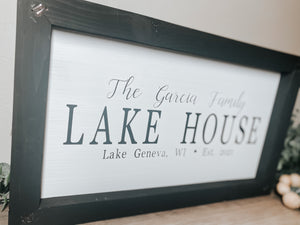 Custom Family Lake House Wood Sign