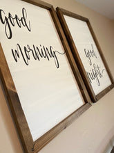 Load image into Gallery viewer, Good Morning Good Night Wooden Sign Set