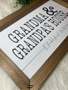 Customized Grandma and Grandpa's House Wooden Sign