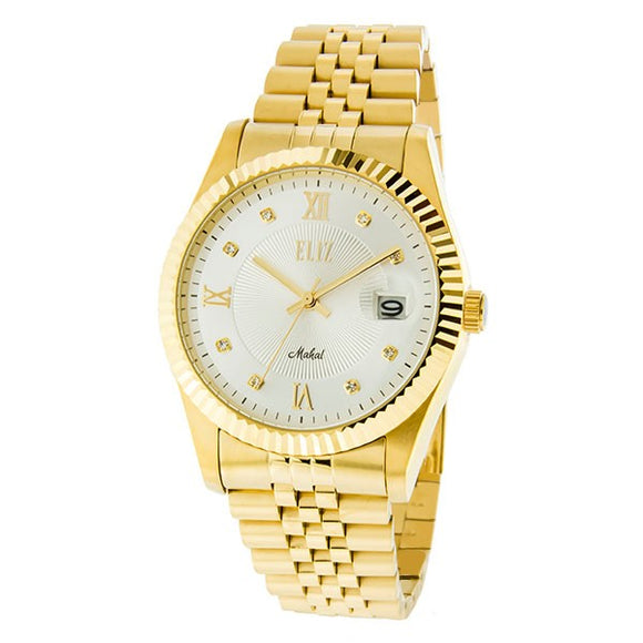 Eliz men's White dial gold plated stainless steel case and band Analog Watch  ES8332G2GWG