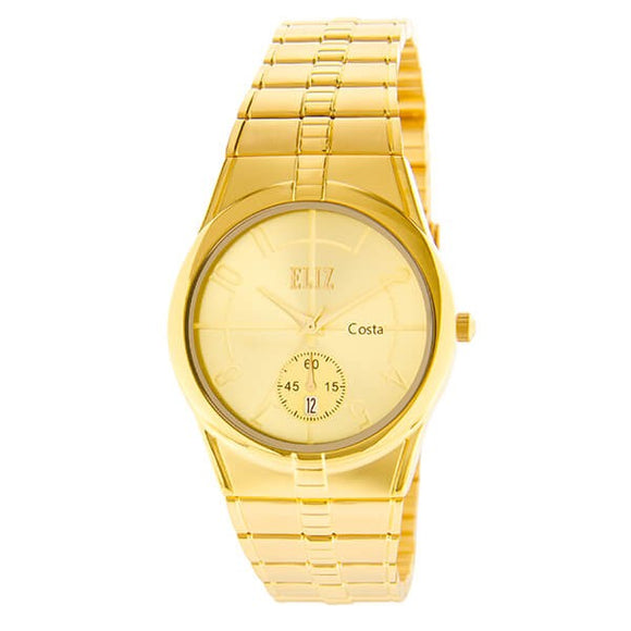 Eliz Men's champagne Dial Gold plated case and Band analog watch ES8147G2GCG