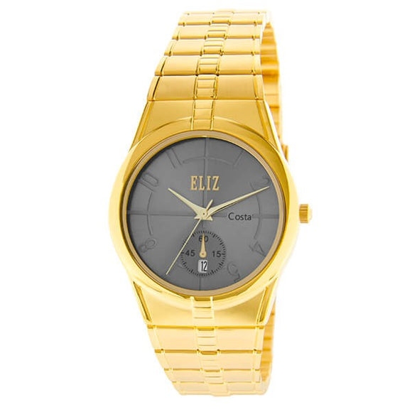 Eliz Men's Grey Dial Gold plated case and Band analog watch ES8147G2GGG