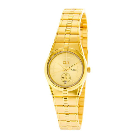 Eliz Women's Champagne Dial Gold plated case and Band analog watch ES8147L2GCG