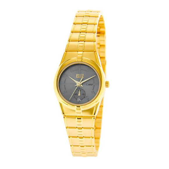 Eliz Women's Grey Dial Gold plated case and Band analog watch ES8147L2GGG