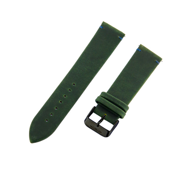 Blade men's Green Genuine Leather Strap with Blue stitching and PVD Black Stainless Steel Ardillon 1