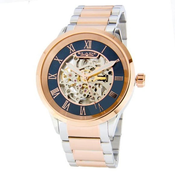 Blade men's Blue Dial Two-Tone PVD Rose Gold Plated Case and Band Skeleton Automatic Mechanical Sempre SS Bichrome 1
