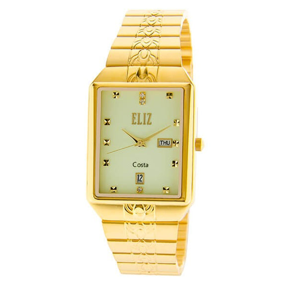 Eliz men's Luminous Dial Gold plated case and Band analog watch ES8149G2GLG
