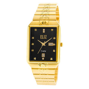 Eliz men's Black Dial Gold plated case and Band analog watch ES8149G2GNG