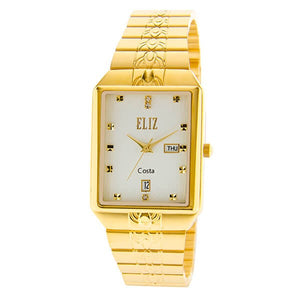 Eliz men's White Dial Gold plated case and Band analog watch ES8149G2GWG
