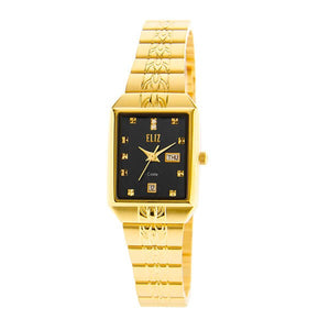Eliz Women's Black Dial Gold plated case and Band analog watch ES8149L2GNG