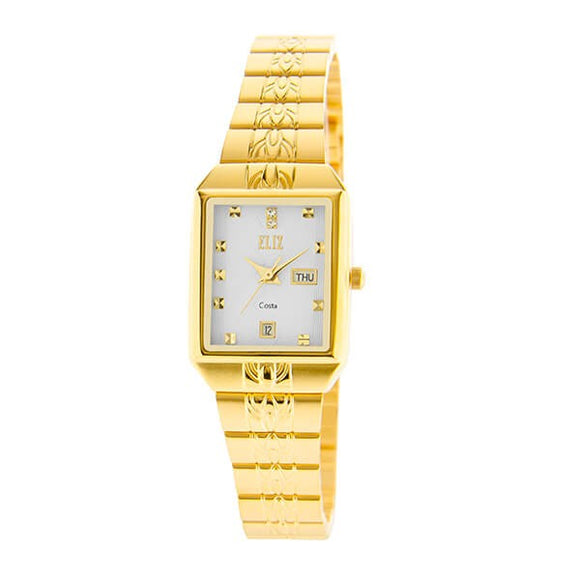 Eliz Women's White Dial Gold plated case and Band analog watch ES8149L2GWG