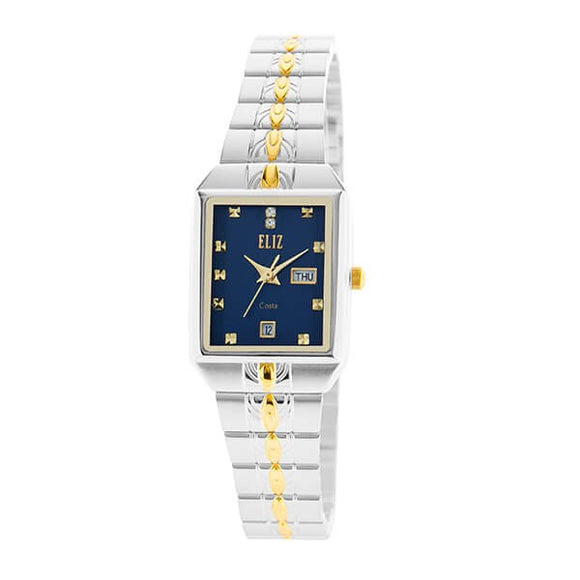 Eliz Women's Blue Dial Two-Tone Silver and Gold plated case and Band analog watch ES8149L2TBT